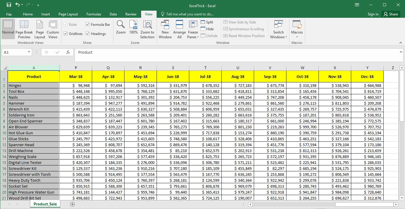 Frozen First Column in Excel