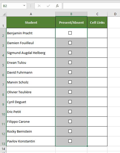 Adding Excel Checkbox Fast