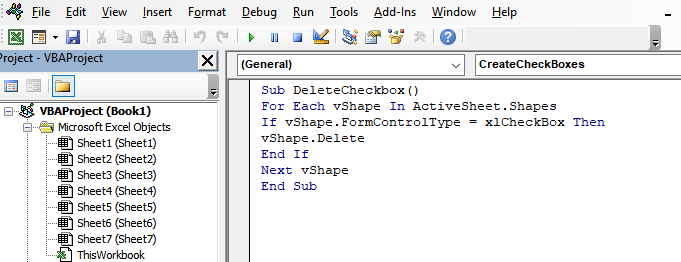 VBA Code to delete multiple checkboxes