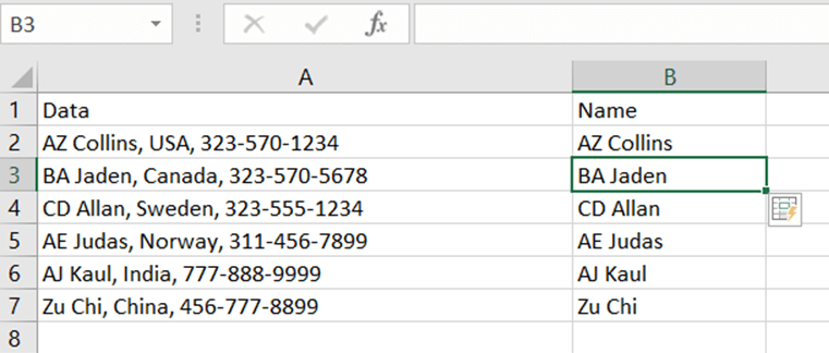 Excel-FlashFill-Data-Sample