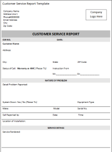 Customer service report template excel word templates for Technical service report template