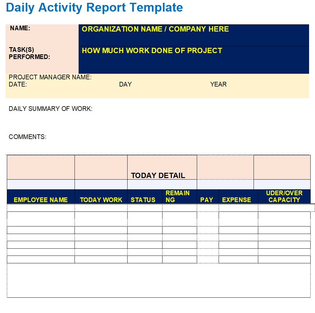Have your employees submit their business and travel expenses with this expense report form template. Daily Report Templates Excel Word Templates