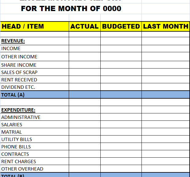excel monthly report template � excel word templates