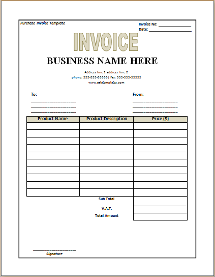 Collection Of Free MS Word And Excel Documents Templates. Purchase Invoice  Template