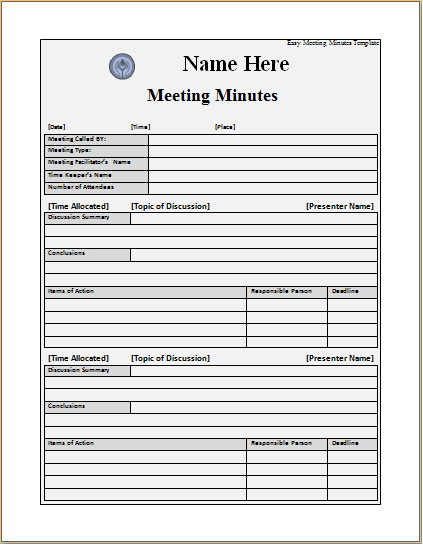 word templates for meeting minutes