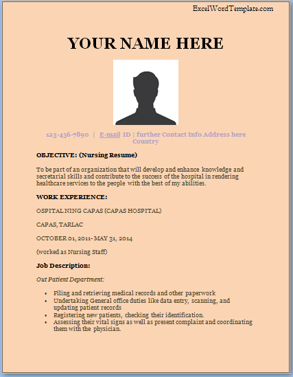 nurse resume template excel word templates nursing resume templates