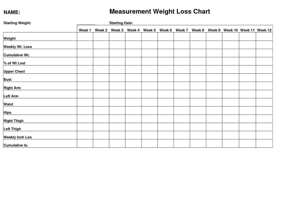 5 Body Measurement And Weight Trackers Word Templates