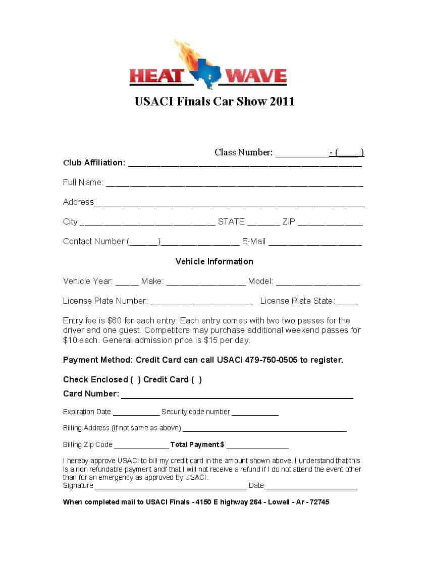 Car Show Registration Form Template 101  Paper Registration Form Template