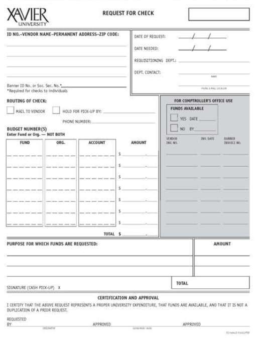 Cheque Request Forms  Word Templates