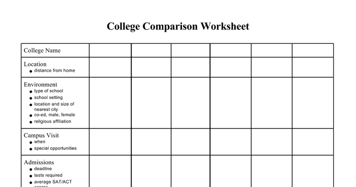 6 college comparison worksheets � word templates