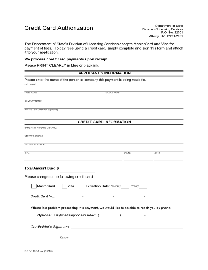 Credit Card Authorization Form Printable