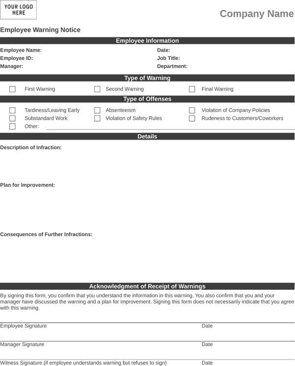 employee warning notice template form