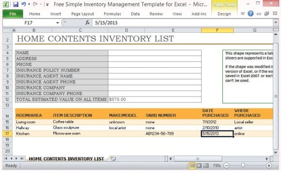 Home Contents Inventory List Template101  Free Inventory List Template