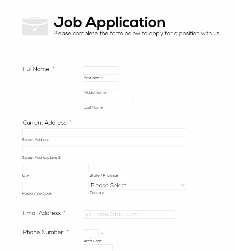 6+ Job Application Forms