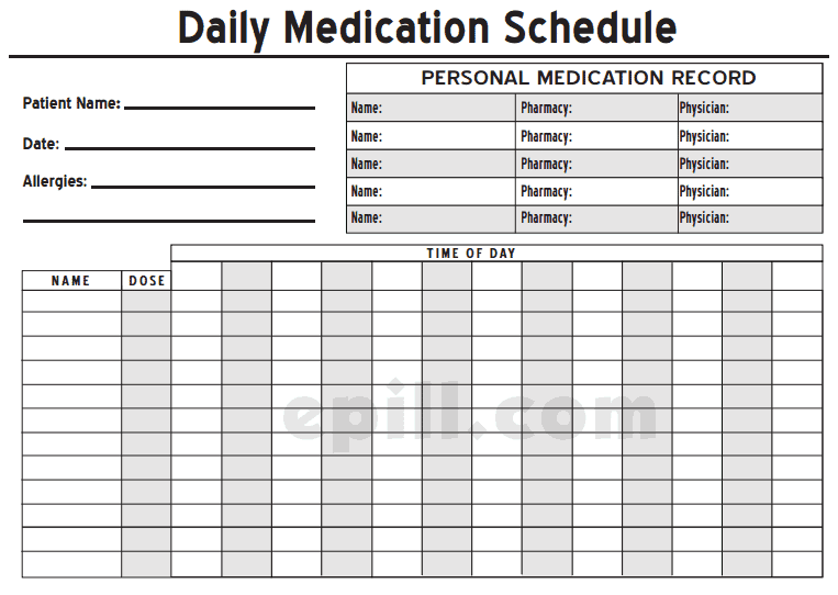 6+ Medication Intake Schedule Templates – Word Templates