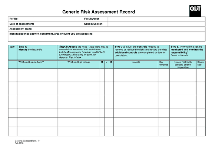 6 risk assessment forms word templates for Formal risk assessment template