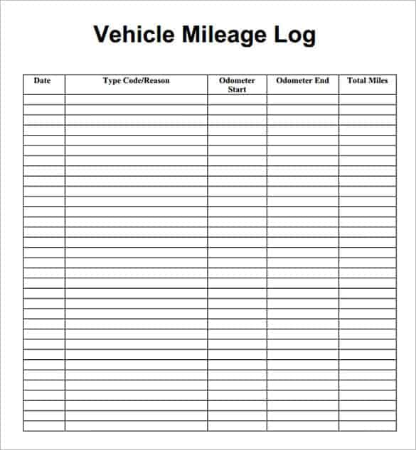 Mileage Log With Reimbursement Forms  Word Templates