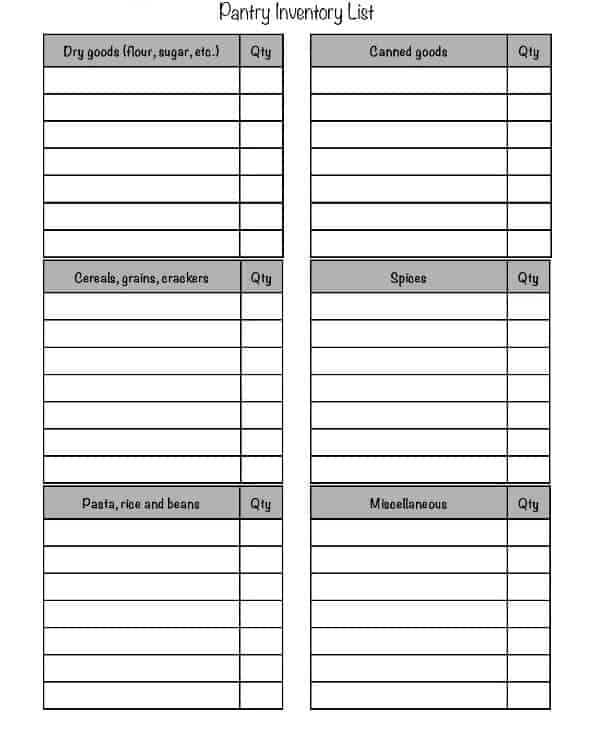 Pantry Inventory List Template 154  Inventory List Format