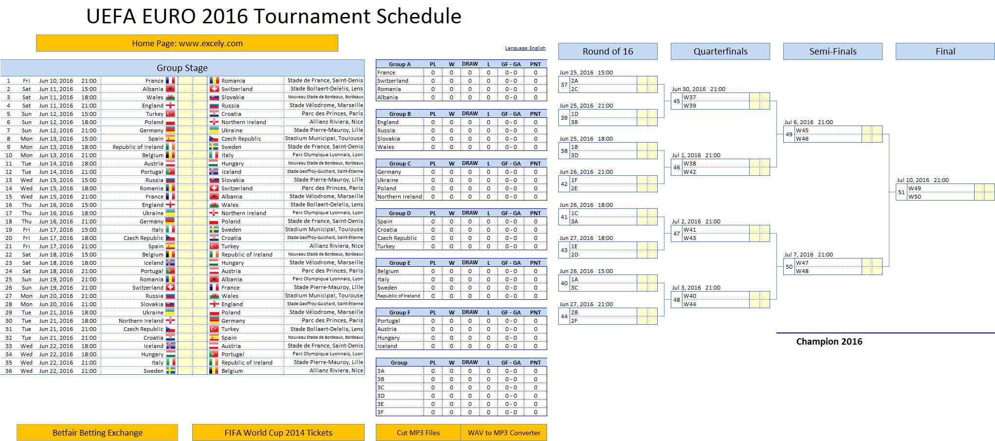 Uefa Euro Schedule Excel Template