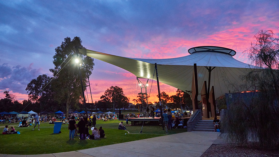 Sunsets over Nowingi Place, Mildura, as people wait for the Leukaemia Foundations Light the Night event to start. Strong Communities photos by excitations Mildura photographers.