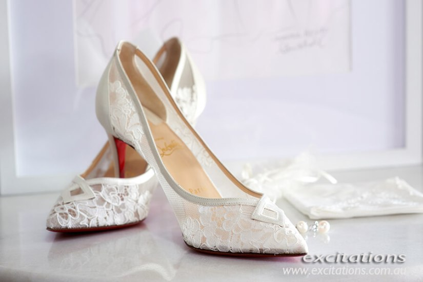 Brides shoes on white background. Wedding photography by Excitations Mildura, photographers