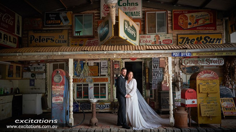 A mock street scene inside a private shed near Mildura. Wedding photography in Mildura by Excitations.