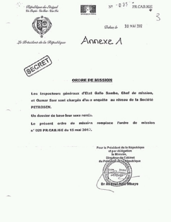 Guerre des documents: L'ordre de mission qui fragilise la position de Macky