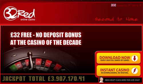 32red No Deposit Bonus Offer – Get £32 Free!