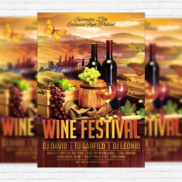 Wine Festival Premium Flyer Template Facebook Cover Exclsiveflyer Free And Psd