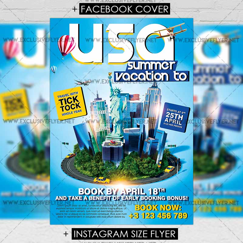 Vacation To Usa Premium A5 Flyer Template Exclsiveflyer Free And Premium Psd Templates