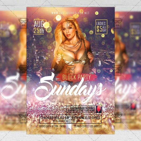 Sundays Block Party Flyer Club A5 Template Exclsiveflyer Free And Premium Psd Templates