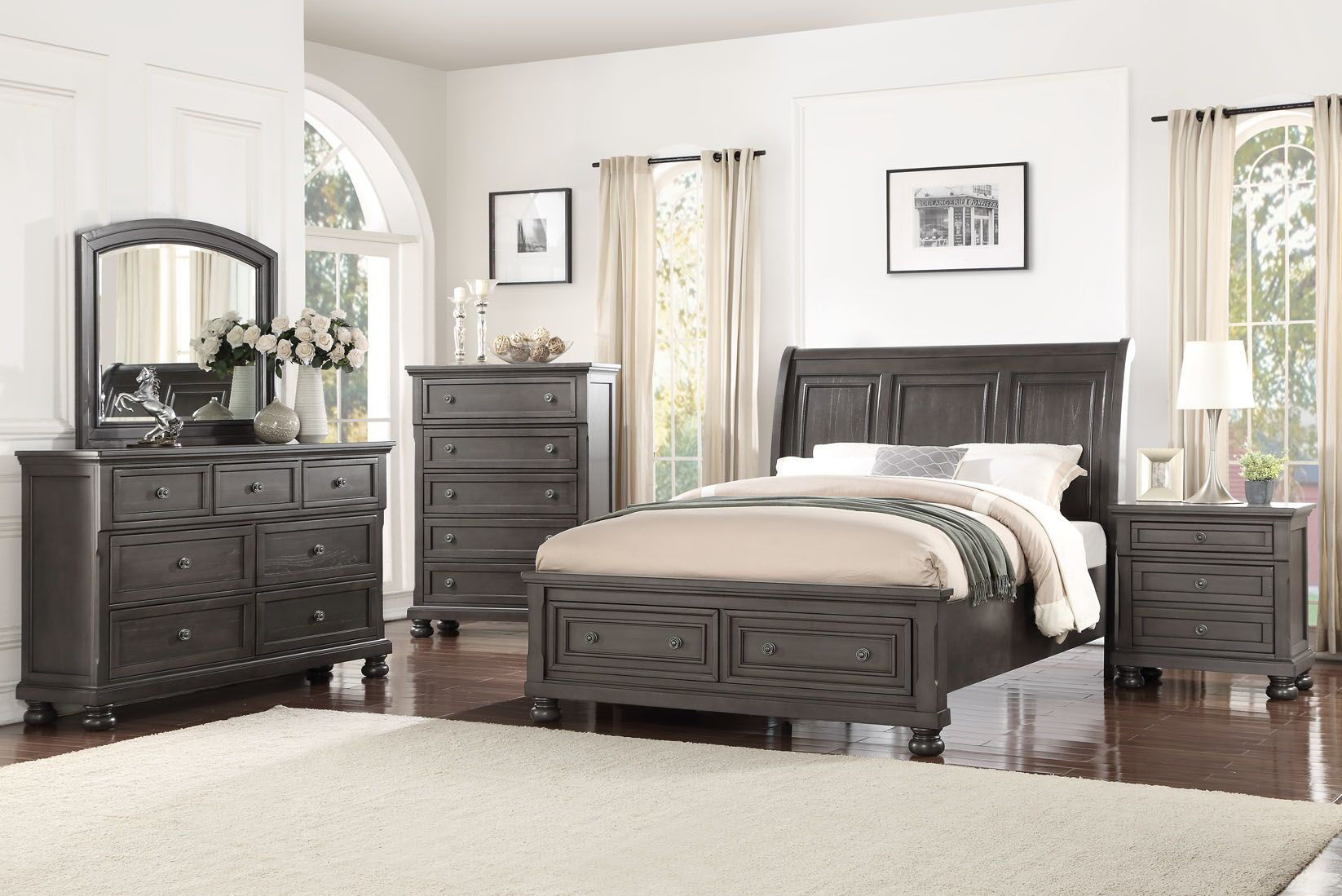 franklin king bedroom set grey 1061