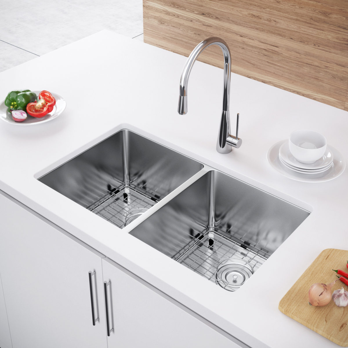 undermount double kitchen sink omega cabinets exclusive heritage 31 x 18 bowl 50