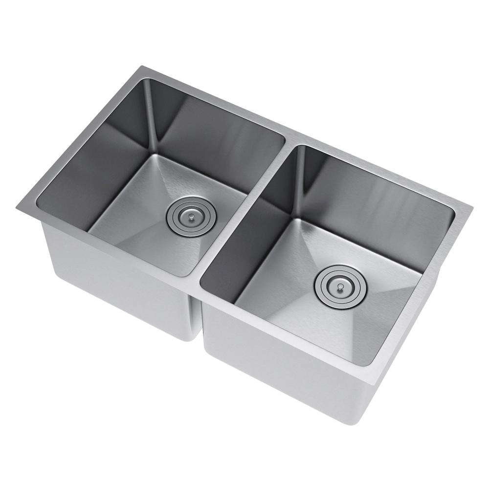 Exclusive Heritage 33 x 20 Double Bowl 5050 Undermount Stainless Steel Kitchen Sink with