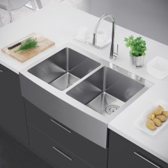 Stainless Steel Farmhouse Kitchen Sink Corner Exclusive Heritage 33 X 22 Double Bowl 50