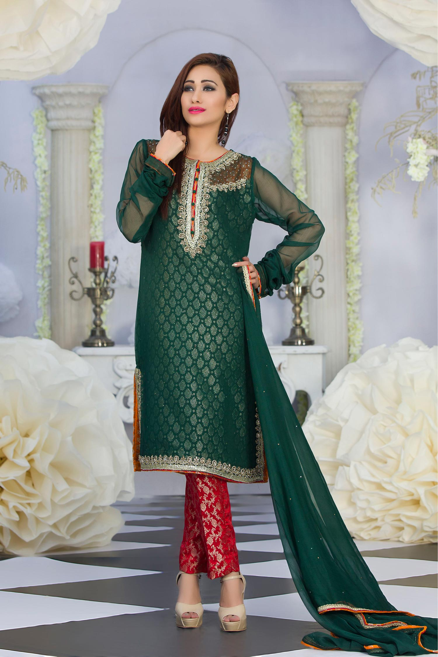 Exclusive Green  Red Color Latest Design Party Dress  Exclusiveinncom  Page 1