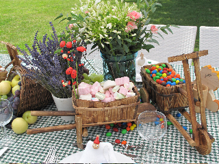 Candies on kids tables