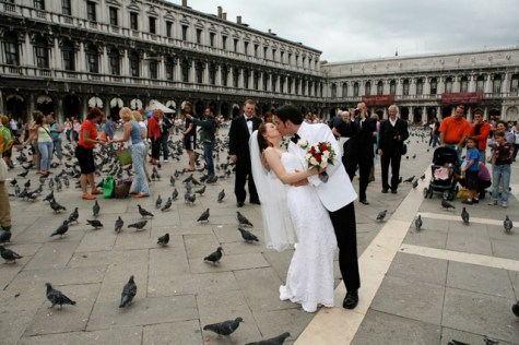 A romantic kiss in St. Mark's Square