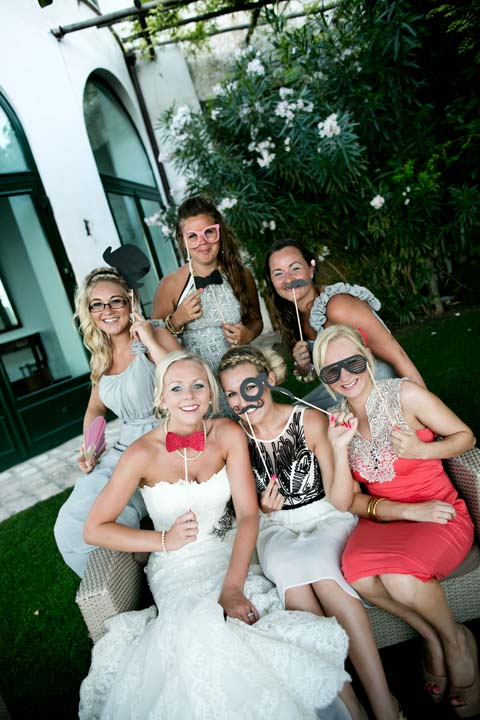 Bride and friends in the photo booth