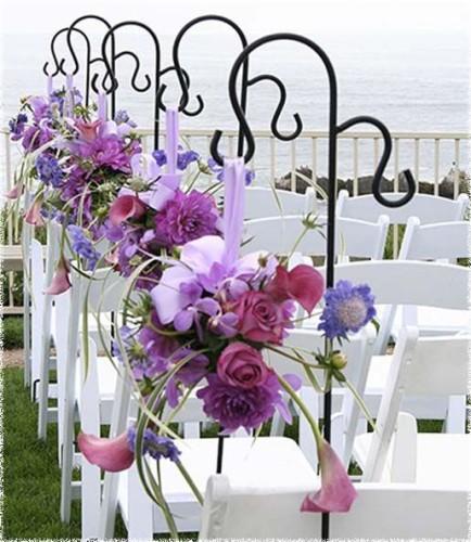 radiant orchid aisle decoration