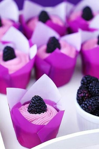 radiant orchid lemon blackberry cupcakes