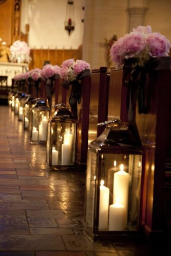 radiant orchid aisle decoration