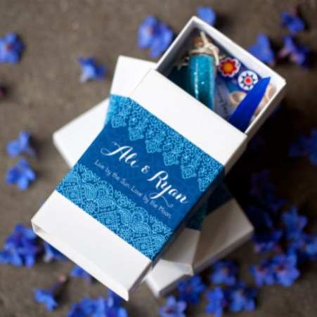 Decorated matchbox shrines for wedding favors