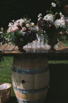 Rustic table for wedding cocktail