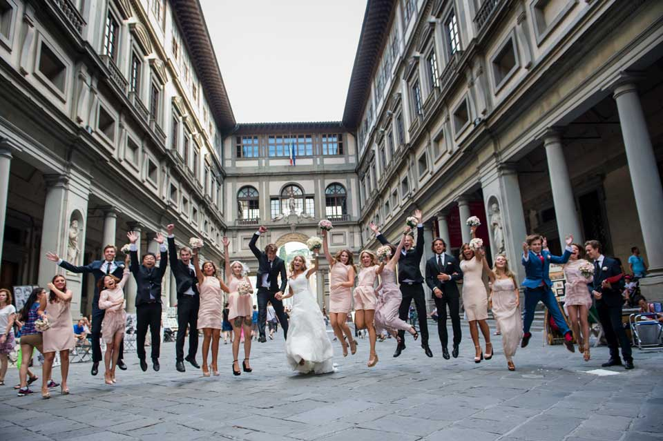 Bridal couple with friends in Florence