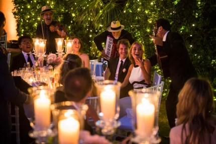 Wedding banquet in the gardens of Villa di Maiano near Florence