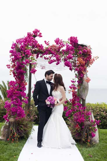Chuppah with bougainvillea flowers