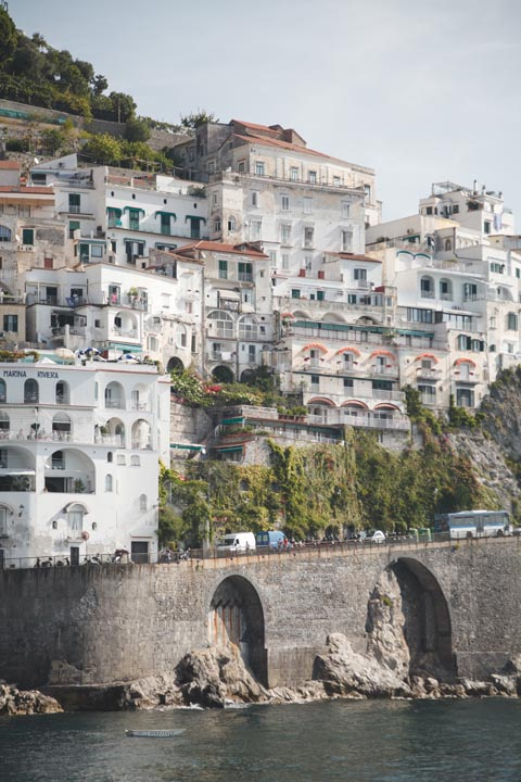 Traditional houses by the sea on the Amalfi Coast