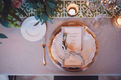 Elegant table setting for wedding banquet