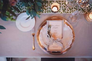 Elegant table setting for wedding banquet